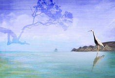 Cape with Heron and tree. Photo manipulation - photos and painting are owned by the artist Stock Photography