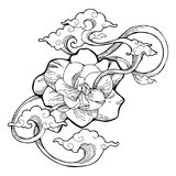 Cape jasmine, Gardenia jasmine and aroma cloud design by  ink drawing tattoo  with white isolated background. The Gardenia jasmine is a white little flower for Stock Images