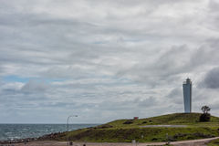 Cape jervis lighthouse on cloudy day Royalty Free Stock Photo