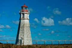 Cape Jourimain Lighthouse. The Cape Jourimain Lighthousestands tall and strong with the Confederation Bridge to PEI in the background. Cape Jourimain National royalty free stock image