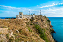 Cape Kaliakra Fortress. The medieval fortress at cape Kaliakra in the Southern Dobruja region of the northern Bulgarian Black Sea Coast Royalty Free Stock Photos