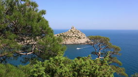 Cape Kapchik in Black Sea at sunny day, Crimea stock video footage