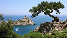 Cape Kapchik in Black Sea at sunny day, Crimea stock video