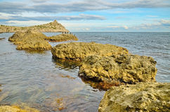 Seascape with row of wild rocks in water sea Royalty Free Stock Photography