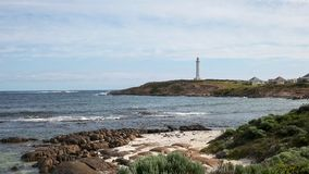 Cape leeuwin lighthouse and beach in west australia. A beach and rocks at west australia`s cape leeuwin lighthouse, situated at the most south westerly tip of royalty free stock image