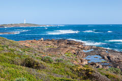 Cape Leeuwin Lighthouse. At the south-western tip of Australia, where two oceans meet royalty free stock photo