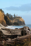 Cape and Light House. The Cape Disappointment Light House on the coast of Washington State stock photos