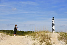 Cape Lookout Lighthouse. The Cape Lookout Lighthouse on the North Carolina Coast Stock Photos