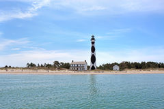 Cape Lookout lighthouse on the Southern Outer Banks of North Car. Cape Lookout Lighthouse on the Southern Outer Banks or Crystal Coast of North Carolina viewed Stock Photos