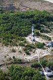 Cape lookout lighthouse view from a plane royalty free stock photo