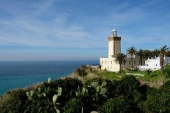 Tangier lighthouse in Morocco, Tangier. Cape Malabata with a lighthouse, east of Tangier.promontory at the entrance to the Strait of Gibraltar, 12 km West of Stock Photography