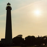 Cape May Lighthouse silhouette in New Jersey USA stock photos