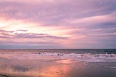 Cape May, NJ, strand och hav i violetta toner på soluppgång royaltyfri bild