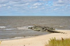 Cape may sealine. Cape may Bay beach on a spring day Stock Images