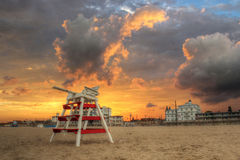 Cape May Sunset. A beautiful sunset in Cape May, New Jersey. The lifeguard stand added some interest to this incredible scene royalty free stock image
