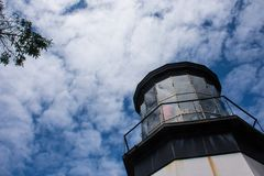 Cape Meares Lighthouse in Oregon on a sunny day - artistic angle royalty free stock photography
