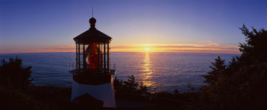 Cape Meares Lighthouse At Sunset royalty free stock photography