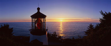 Cape Meares Lighthouse At Sunset, Cape Meares, Oregon Royalty Free Stock Image