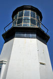 Cape Mears lighthouse. Low angle view of Cape Mears lighthouse with blue sky background; Tillamook, Oregon, U.S.A Royalty Free Stock Images