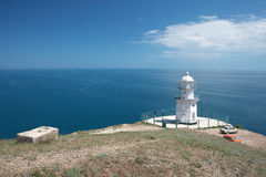 Cape Meganom lighthouse Royalty Free Stock Image