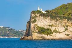 Cape Miseno Lighthouse, Gulf of Naples, Italy in sunny summer da stock photos