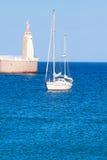 Cape Morrocco. Jesus Christus statue at port entrance in Tarifa, Stock Image