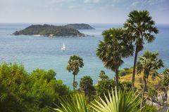 Cape is a mountain of rock in Phuket, Thailand Royalty Free Stock Photography