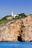 Cape Nao lighthouse white coast Alicante Stock Photo