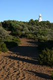 Cape Naturaliste Lighthouse. A meandering sandy path makes its way to Cape Naturaliste lighthouse.  Western Australia Royalty Free Stock Photos