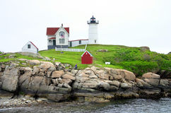 Cape Neddick Lighthouse, Maine. The Cape Neddick Nubble is a small, rocky island a short distance off the eastern point of Cape Neddick near the entrance to the Royalty Free Stock Image
