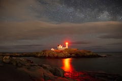 Cape neddick lighthouse. Night milky way royalty free stock photos