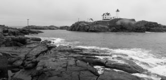 Cape Neddick Lighthouse Nubble Island Rock in York Maine royalty free stock images