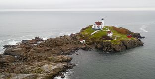 Cape Neddick Lighthouse Nubble Island Rock in York Maine royalty free stock photos