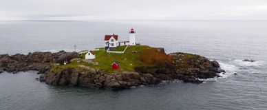 Cape Neddick Lighthouse Nubble Island Rock in York Maine stock images