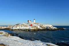 Cape Neddick Lighthouse, Old York Village, Maine Royalty Free Stock Images