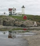 Cape Neddick Lighthouse reflection Royalty Free Stock Photography