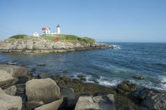 Cape Neddick Lighthouse, York, Maine. Historical east coast lighthouse on Nubble Island. Completed and put in use in 1879. York Beach is just to the south Royalty Free Stock Image