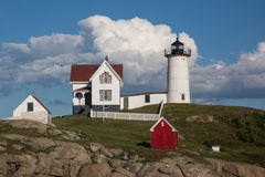 Cape Neddick Nubble Lighthouse in Maine. The beautiful Cape Neddick lighthouse also known as Nubbel, on a sunny summer day in York, Maine Royalty Free Stock Image