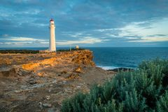 Cape Nelson state park at sunset, view of the lighthouse royalty free stock photos