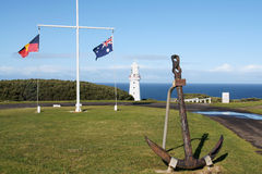 Cape Otway. Anchor and Australian flag in Cape Otway stock photo