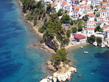 Cape Plakes, Skiathos aerial. Aerial view of a Greek island village and cape royalty free stock image