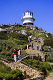 Cape Point Lighthouse. Lighthouse at Cape of Good Hope, South Africa with wildflowers Royalty Free Stock Photography