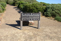 Cape Point sign, South Africa. Cape Point in South Africa part of Table Mountai National Park. Signpost showing the latitude and longitude Royalty Free Stock Photography