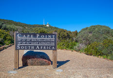 Cape point, South Africa. Sign at cape peninsular with a bright blue sky behind stock photography