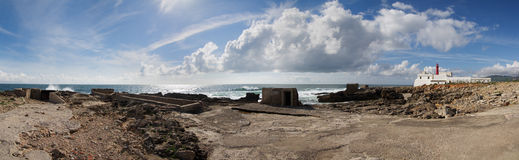 Cape Raso lighthouse south panorama Royalty Free Stock Images