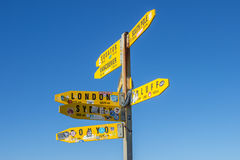 Cape Reinga road signs. The northernmost point of the north island of New Zealand. this is the famous road signs which show the distance to the most important Royalty Free Stock Photos