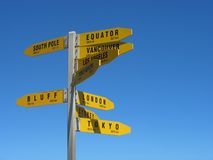 Cape Reinga Signpost Royalty Free Stock Photography