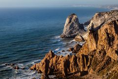 Cape Roca, the westernmost extent of continental Europe. Cape Roca forms the westernmost extent of mainland Portugal, continental Europe and the Eurasian land Royalty Free Stock Photo
