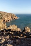 Cape Roca, the westernmost extent of continental Europe. Cape Roca forms the westernmost extent of mainland Portugal, continental Europe and the Eurasian land Royalty Free Stock Images