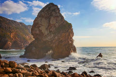 Cape Roca - Portugal. Rocks at the Atlantic Ocean shore, Portugal royalty free stock photography